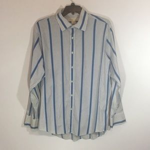 Michael Kors   White and Blue button down shirt